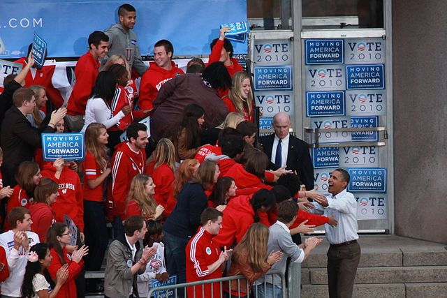 Barack Obama visiting the University of Wisconsin Madison campus at Library Mall on 9 28 2010. John Kees