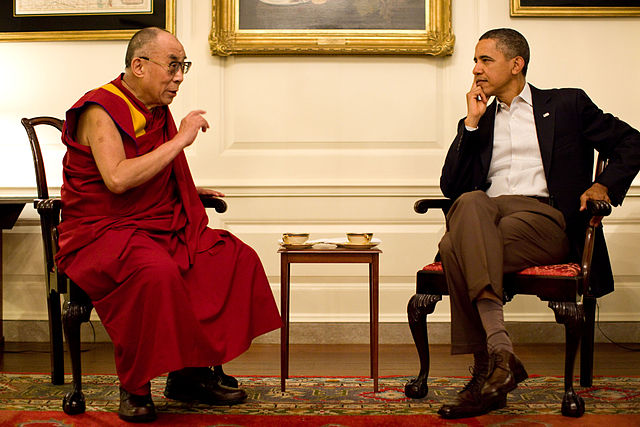 Barack Obama with the 14th Dalai Lama in the Map Room 2011 Official White House Photo by Pete Souza