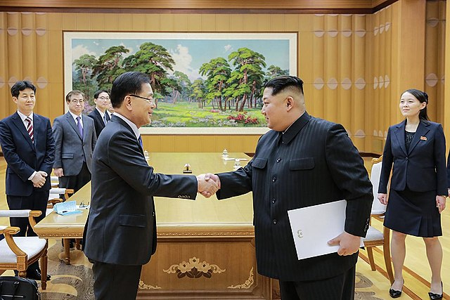 Chung Eui yong and Kim Jong un Blue House